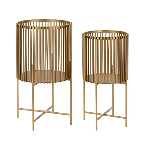Kate and Laurel Paynter Modern 2-Piece Metal Floor Planter Set with Foldable Stand, Gold