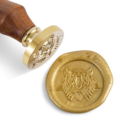 - Mceal Wax Seal Stamp, Brass Head with Wooden Handle, Tiger