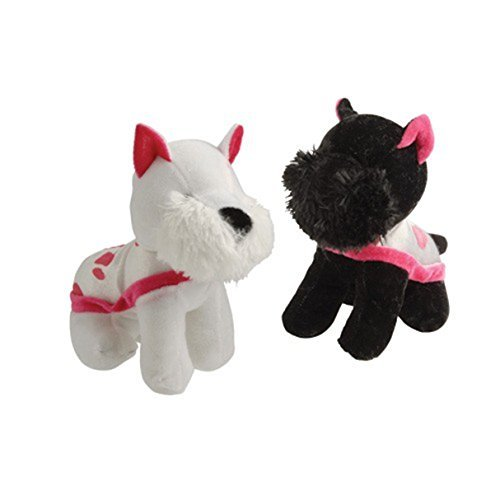 U.S. Toy Scotty Scottish Terrier Puppy Dog Black and White with Pink Cape Plush Stuffed Animals (2)