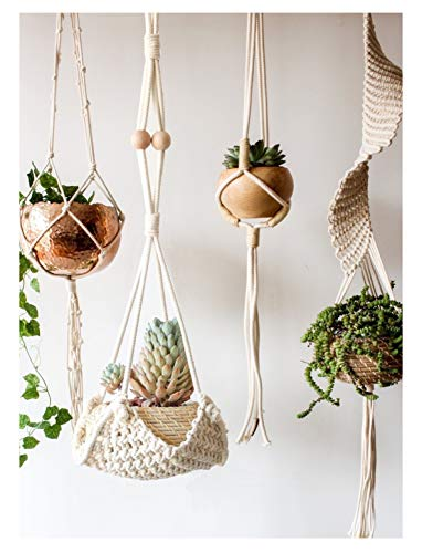 Flber Macrame Plant Hanger Handmade Cotton Rope Wall Hangings Home Decor,30' L