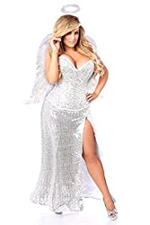 Women's Premium Sequin Angel Corset Costume