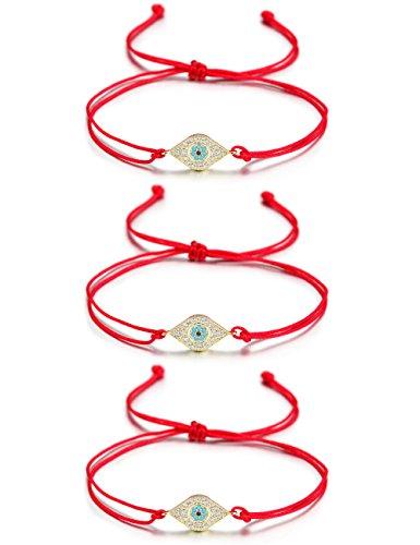 Wistic Hamsa Evil Eye Adjustable Bracelet Kabbalah Silver String Bracelet for Women Men Girls Boys (3 pcs red a Set)