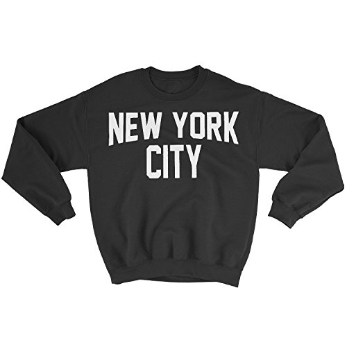 New York City Sweatshirt Screenprinted Black Adult NYC Lennon Shirt (Large)
