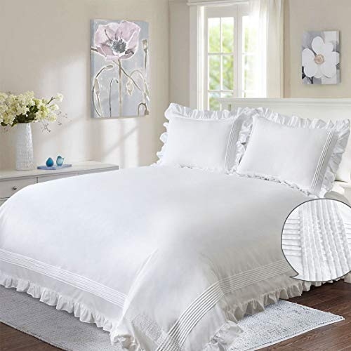 Ruffle Duvet Cover White Queen Women 3PC Shabby Chic Boho Trimmed Quilt Comforter Cover Girl Frilly 90x90 Farmhouse Rustic Flounce Border Pintuck Country Bed Set French Romantic Cute 2 Pillow Shams