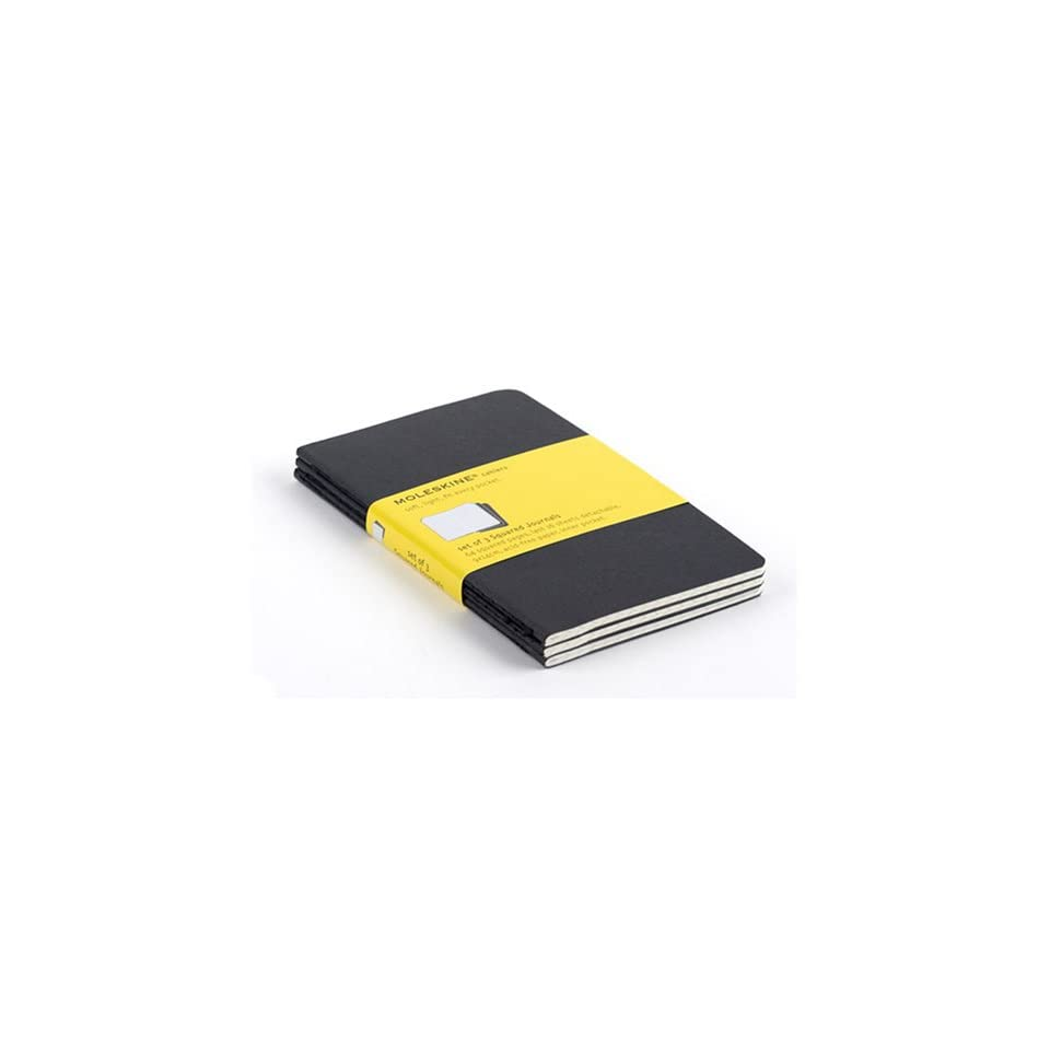 Moleskine Large Black Soft Cover Squared Cahier Journal (Set of 3)