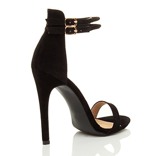 Suede High Shoes Size Black Strappy Barely Women Heel Sandals There Ajvani 8U0vqxW
