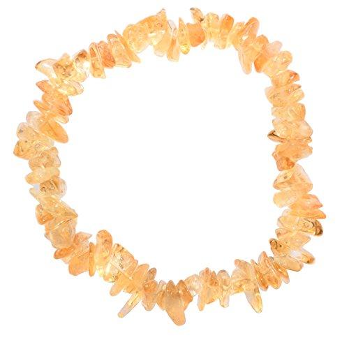 [1] Charged 7 Citrine Crystal Chip Bracelet Tumble Polished Stretchy (Radiates Light, Peace of Mind & Joy) [Reiki] by ZENERGY GEMS