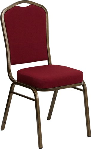 Flash Furniture HERCULES Series Crown Back Stacking Banquet Chair in Burgundy Fabric - Gold Vein Frame (Red Sale Chairs Kitchen)