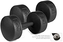 York Barbell 35 lb Legacy Solid Professional Round Dumbbells