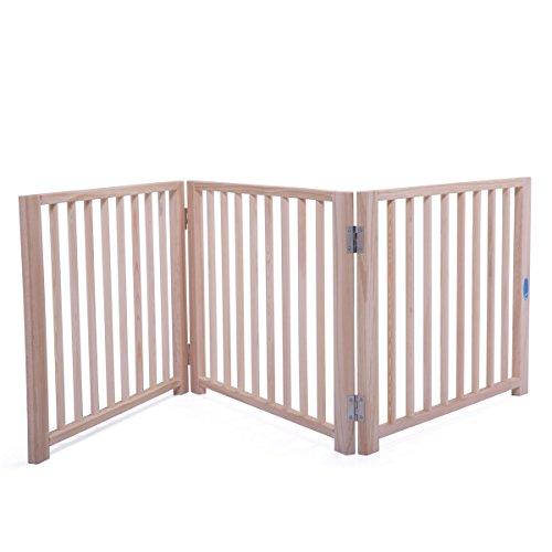 "LAZYMOON 17.5"" Folding Solid Wooden Pet Dog Fence Playpen Ga"