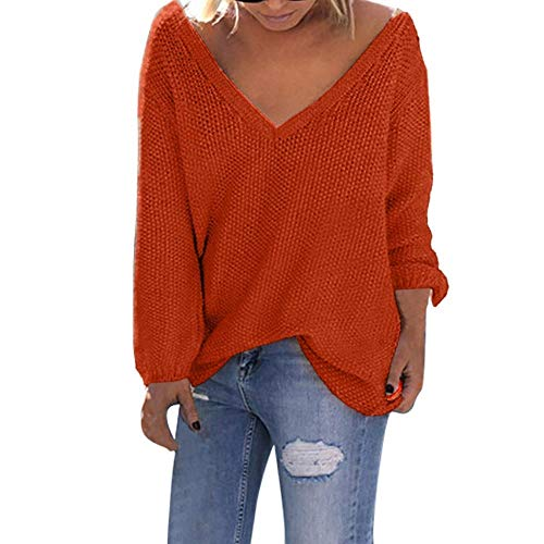 LODDD Women V-Neck Sweater Fashion Solid Long Sleeve Loose T-Shirt Tops Knitting ()