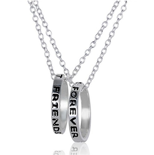 Fusicase Best Friends Forever Two Part Necklace, Engraved Ring Pendant Charm Necklace(Silver)