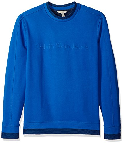 Calvin Klein Jeans Men's Crew Neck Sweatshirt With Tonal Rib Tipping, Strong Blue, M