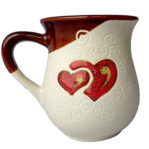 Beautiful Pottery - Handmade Coffee Pottery Mugs with Love Unique Birthday Gift for Mom Dad Women Men Him Her – White Heart (10 fl oz, 300 ml) – Cupscho