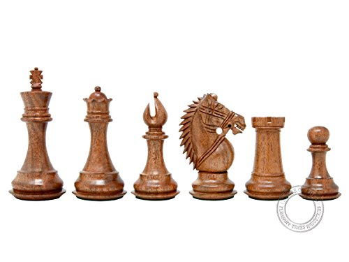House of Chess - Ringy Rosewood (Acacia Rhodoxylon) / Boxwood Chess Pieces Rio Staunton - King Height: 4.0