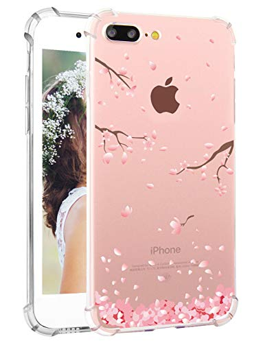 Hepix iPhone 7 Plus Case iPhone 8 Plus Case Cherry Blossom Floral Print iPhone Case Clear Soft TPU Bumper Protective Transparent Back Cover for iPhone 7 Plus iPhone 8 Plus ()