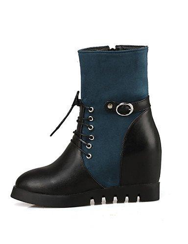 5 Cn43 negro Eu42 Cuñas Casual Zapatos Vellón us8 A Cuña Eu39 Uk8 Mujer Cn39 Xzz Puntiagudos us10 Azul Moda Uk Blue Tacón La Black Botas Uk6 Semicuero De Vestido 5 HZqng