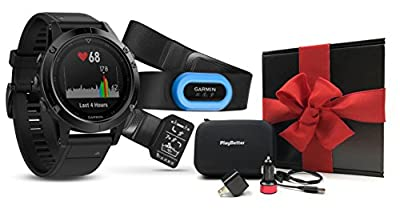 Garmin fenix 5 Sapphire (Black with Black Band) Performer Bundle GIFT BOX | Includes Multi-Sport GPS Watch with Wrist-HR, HRM-Tri Chest Strap, Extra Band, PlayBetter USB Car/Wall Adapters, Hard Case