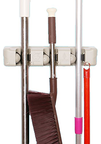 Cinlv Mop and Broom Holder, Wall Mounted Garden Tool Storage Tool Rack Storage & Organization for Your Home, Closet, Garage 3 Position 4 Hooks from Cinlv