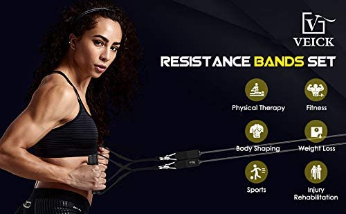 VEICK Resistance Bands Set,Workout Bands,Exercise Bands,5 Tube Fitness Bands with Door Anchor,Handles,Portable Bag,Legs Ankle Straps for Musle Training, Physical Therapy, Shape Body,Home Workouts