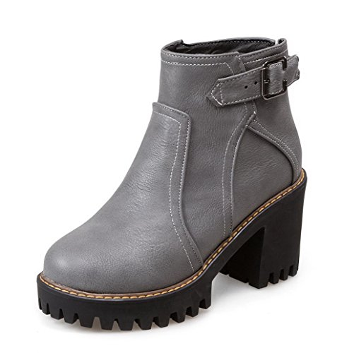 AgooLar Women's High-Heels Solid Closed Round Toe Soft Material Zipper Boots Gray aEIwLUys