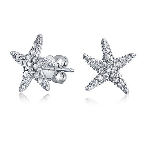 Bling Jewelry Dancing Starfish Pave CZ Sterling Silver Stud Earrings
