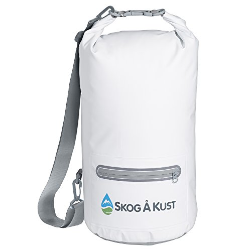 Såk Gear DrySak Waterproof Dry Bag with Exterior Zip Pocket, Shoulder strap and Reflective Trim, For Watersports & Outdoor Activities, 10L White