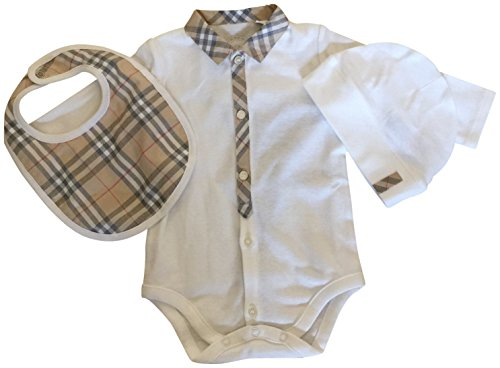 Burberry Baby Infant Bodysuit Coverall Bib Hat Shower Gift Set 12M by BURBERRY