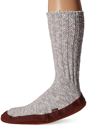 Acorn Unisex Slipper Sock, Light Grey Cotton Twist, Small(8-9 Women's/6-7 Men's) B US