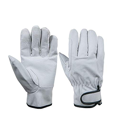 Working Gloves Add Holds Wear-Resisting Protective Pigskin Gloves Gardening Gear Driver Riding Labor Work Gloves White Gardening Gloves Farm Gloves