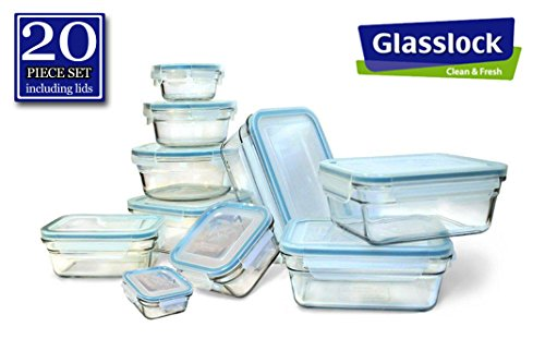 - New Snaplock Lid: Tempered Glasslock Storage Containers 20pc set~Microwave & Oven Safe