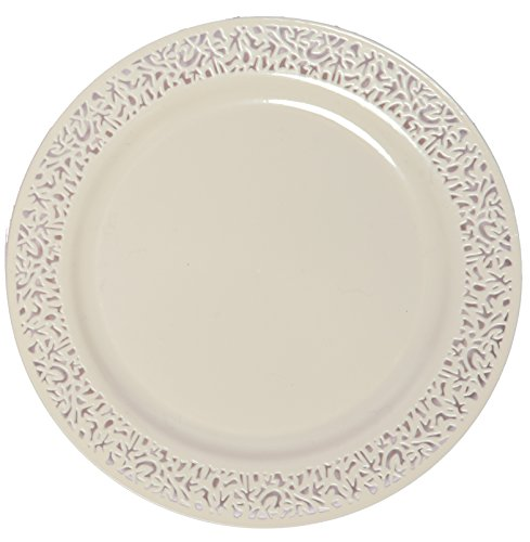 Party Joy 'I Can't Believe It's Plastic' 200-Piece Plastic Dinner Plate Set | Lace Collection | Heavy Duty Premium Plastic Plates for Wedding, Parties, Camping & More (Ivory)