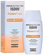 ISDIN Fotoprotector Fusion Fluid SPF 50+, Protector Solar Facial, Innovadora textura ultraligera que se funde con tu piel, 50ml