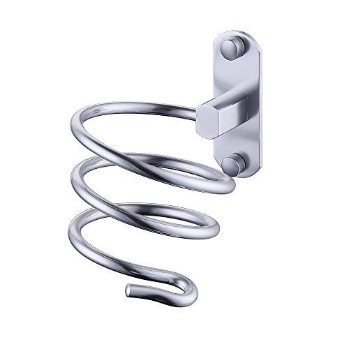 KES Premium Aluminum Hair Dryer Holder Spiral Practical Wall Mount Hang Shelf Bathroom Accessories Set, Silver, HDH400