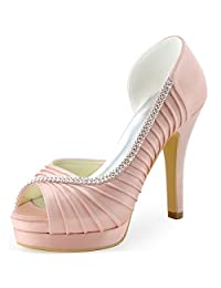 ElegantPark EP11064-IPF Women Satin Pumps Peep Toe Platform High Heel Pleated Rhinestones Wedding Bridal Shoes