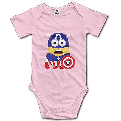Kids Captain America Minions Baby Bodysuits Onesies Unisex Boys Girls 100% Cotton 12 Months Pink (Kids Minion Suit)