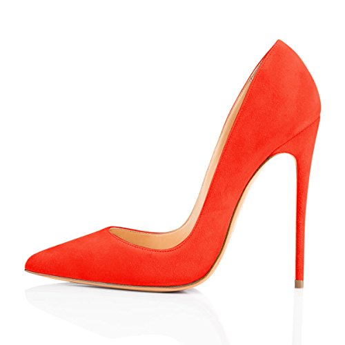 - Onlymaker Women's Sexy Pointed Toe High Heel Slip On Stiletto Pumps Large Size Basic Shoes Orange Suede 13 M US