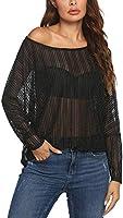 Zeagoo Women's Crochet Blouse Batwing Long Sleeve Shirt Lace Sheer Tops