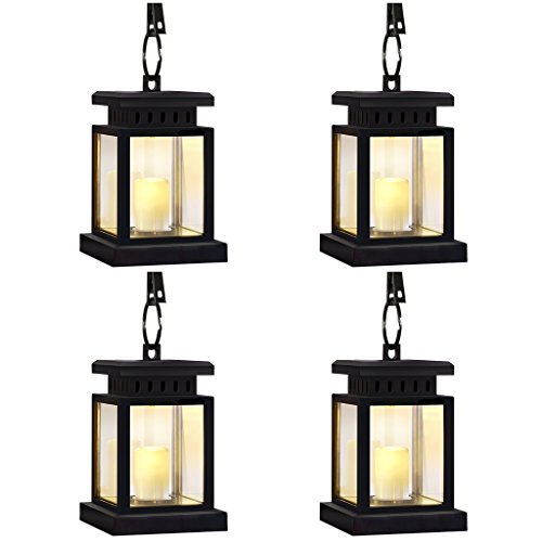 LivEditor Garden Solar Lights,Flickering Flameless Smokeless Candle Lantern,Decoration for Garden Patio Deck Yard Fence Driveway Lawn - 4 Pack -