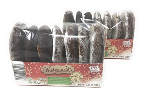 Holiday Cookie (Winternacht Lebkuchen German Iced and Chocolate Covered Gingerbread Cookies on Wafers 200 grams (pack of 2))