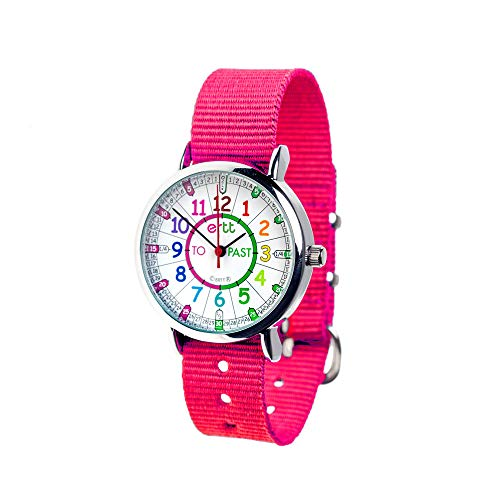 EasyRead Time Teacher Children's Watch, 'Minutes Past' and 'Minutes to', Rainbow Colors/Pink Strap