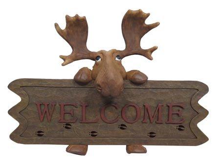 Moose Outdoor Wall - Moose Welcome Sign Wall Plaque, Indoor/Outdoor, 12-inch, Cabin Decor