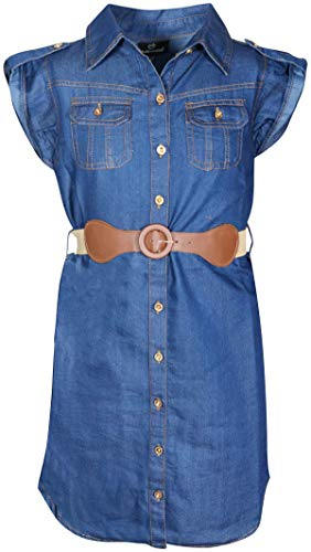 dollhouse Girls' Belted Denim Peasant Dress (Toddler/Little Girl/Big Girl) (2T, Dark Button ()