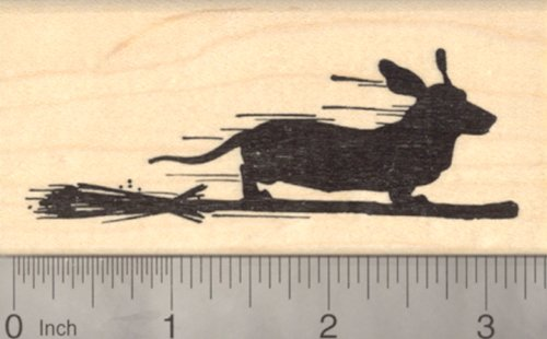 Halloween Dachshund Dog Rubber Stamp, on Witch Broomstick -