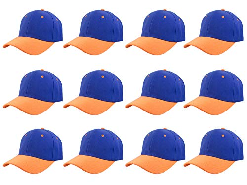 Plain Blank Baseball Caps Adjustable Back Strap Wholesale LOT 12 Pack- 001-Blue Orange from Gelante