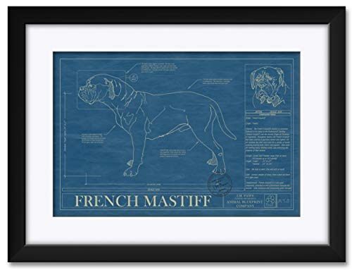 ssionally Framed & Matted Hand-Drawn Dog Blueprint by Robert Redding. Print Size: 13