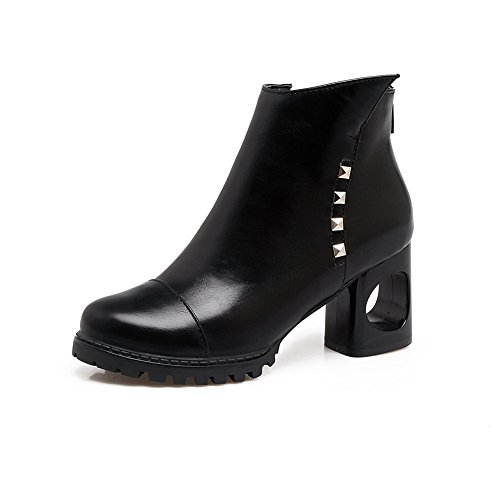 Low Match Womens Warm Boots Black Leather Comfort Dye Boots Urethane Resistant Not Water Top Studded To MNS02653 Lining Zip Heeled 1TO9 Smooth aqE0dH1a