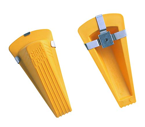 Master Caster Door Stop - Master Manufacturing Safety Yellow Magnetic Giant Foot Door Stop, Heavy Duty Rubber Wedge Design, Made in The USA, Doors Upto 2