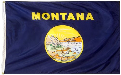 Montana State Seal - Annin Flagmakers Model 143160 Montana State Flag 3x5 ft. Nylon SolarGuard Nyl-Glo 100% Made in USA to Official State Design Specifications.