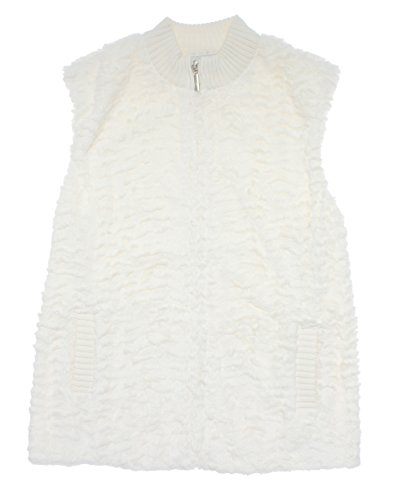 Alfred Dunner Classics Faux Fur Vest Ivory 22W